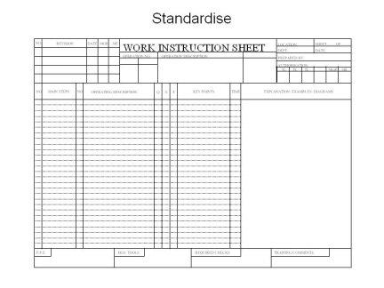 Standard work instruction sheet