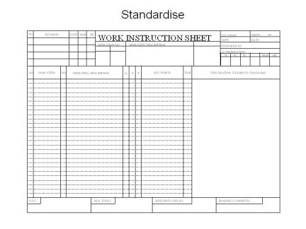 Standard work instruction sheet